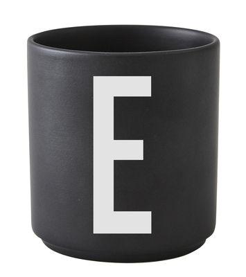 Becher Arne Jacobsen Buchstabe E schwarze Entwurfs-Buchstaben Arne Jacobsen