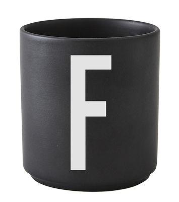 Becher Arne Jacobsen Buchstabe F schwarze Entwurfs-Buchstaben Arne Jacobsen