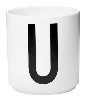 Becher Arne Jacobsen Buchstabe U weiße Entwurfs-Buchstaben Arne Jacobsen