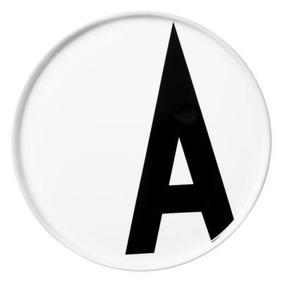Placa Arne Jacobsen Letra A - Ø 20 cm Letras blancas de diseño Arne Jacobsen