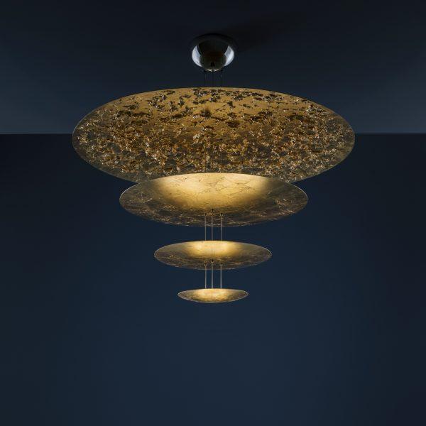 Lichtmaschine F Pendelleuchte - / LED - Ø 120 x H 145 cm - 4 Goldscheiben Catellani & Smith Enzo Catellani