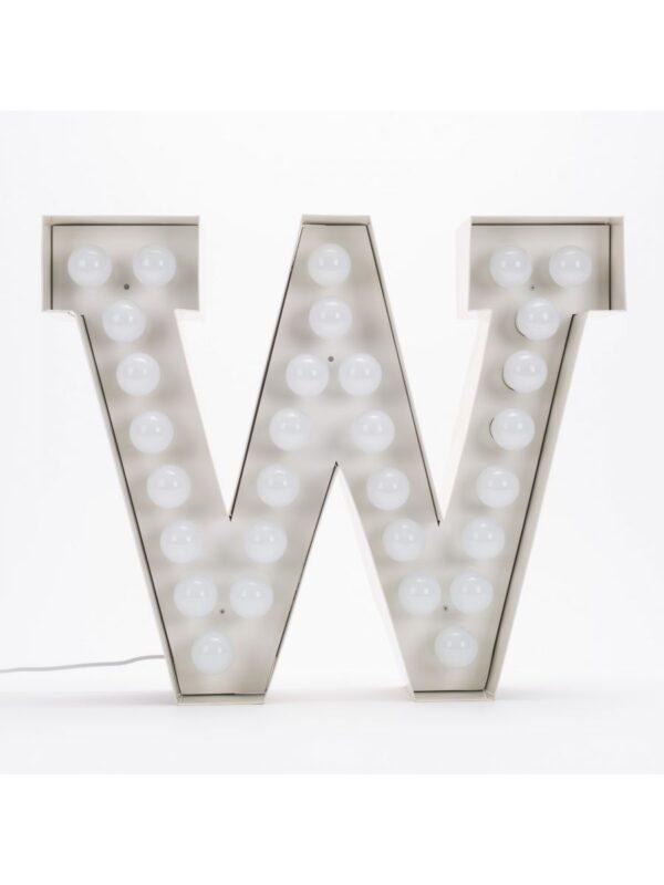 Vegaz Floor Lamp - Letter W - H 60 cm White Seletti Selab
