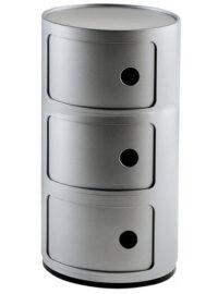 Mobile contenitore Componibili / 3 cassetti Argento Kartell Anna Castelli Ferrieri 1