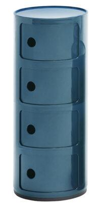 Mobile contenitore Componibili / 4 cassetti Blu Petrolio Kartell Anna Castelli Ferrieri 1