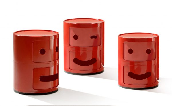 Smile Μονάδα αποθήκευσης Componibili Αρ. 1 / 2 συρτάρια Red Kartell Anna Castelli Ferrieri   Fabio Novembre 2