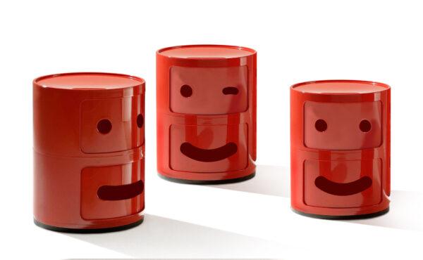 Smile Μονάδα αποθήκευσης Componibili Αρ. 3 / 2 συρτάρια Red Kartell Anna Castelli Ferrieri   Fabio Novembre 2