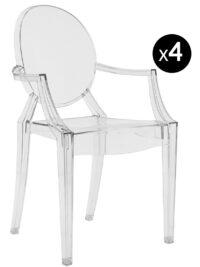 Louis Ghostスタッカブルアームチェア-4個セット透明Kartell Philippe Starck 1