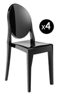 ビクトリアゴーストスタッカブルチェア-4マットブラックKartell Philippe Starckのセット1