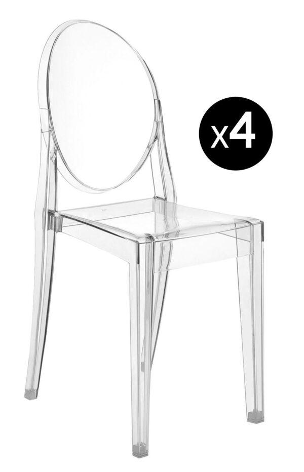 Stapelbarer Stuhl Victoria Ghost - 4er-Set Transparent Kartell Philippe Starck 1