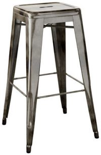 Tabouret haut H - acier de couleur cm H 75 avec vernis transparent sombre Tolix Xavier Pauchard 1