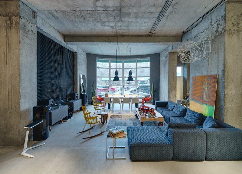 Um escritório de loft