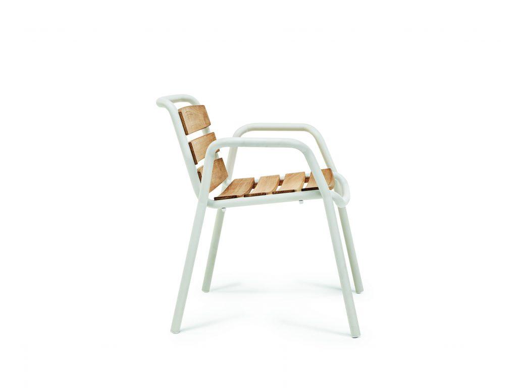 Stich Stuhl mit Latten Teak Seite