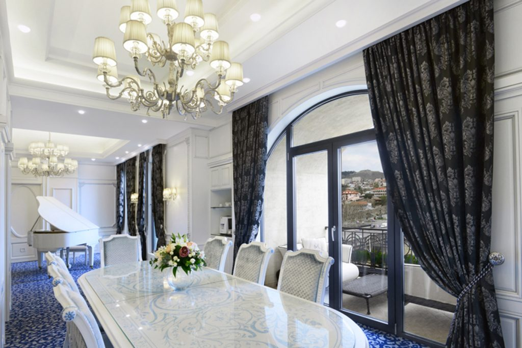 The Presidential Suite's dining room