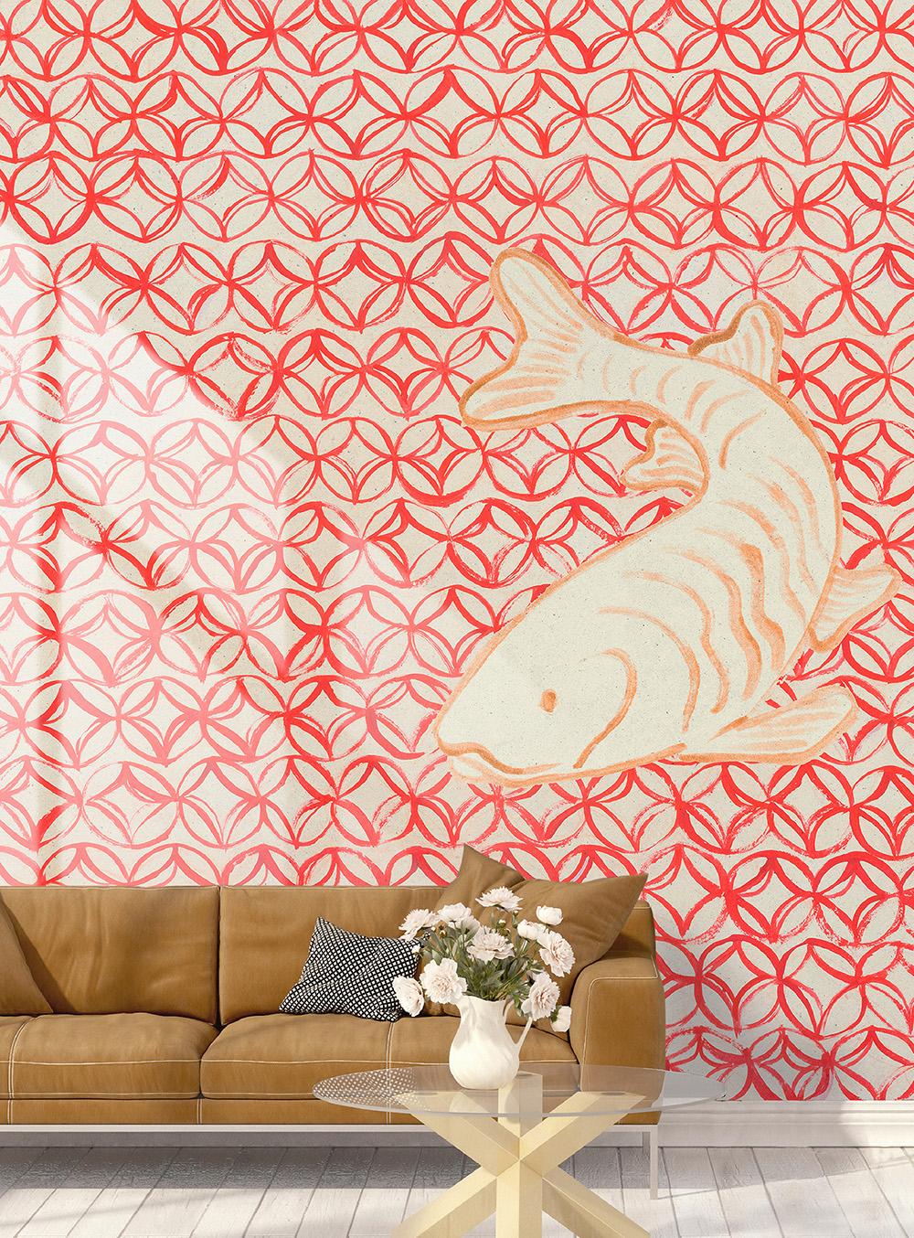 Wallpaper ταπετσαρία Oriental κόκκινο