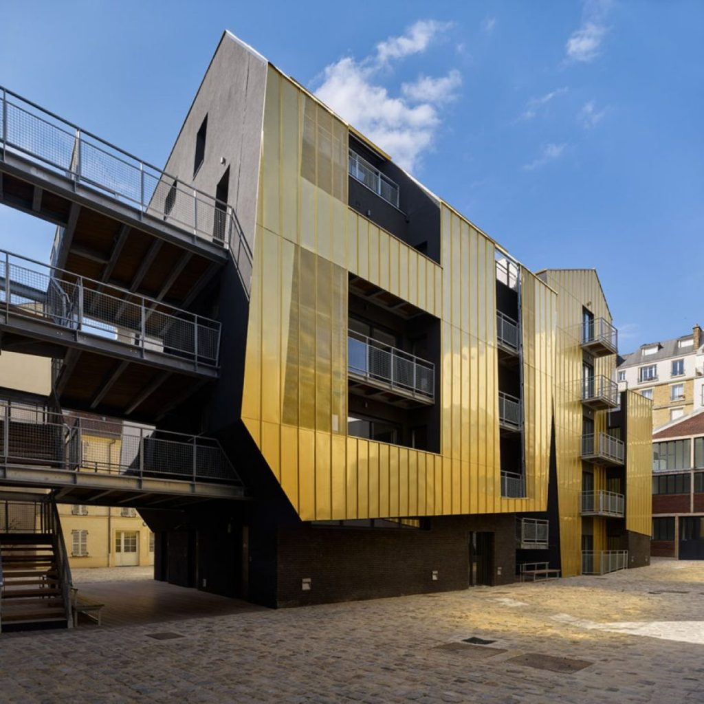 In Paris, a shared urban courtyard lined with gold