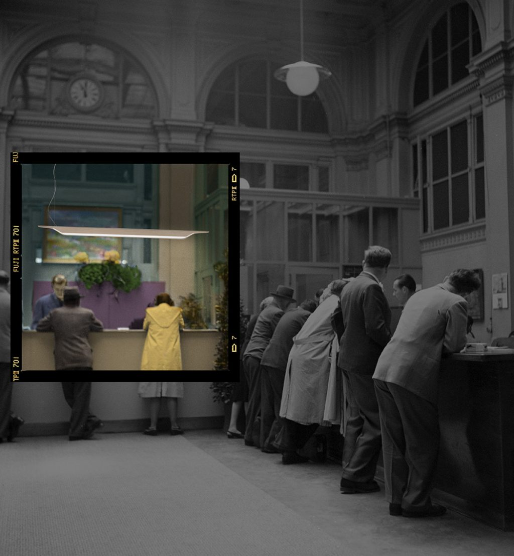 Switzerland Zurich Central Station Travel Agency Swissair, 1946 (b / w photo)
